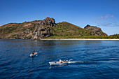 Local boat transfer to the Yasawa Flyer II catamaran (South Sea Cruises), Kuata Island, Yasawa Group, Fiji Islands, South Pacific