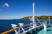 Bow of cruise ship MV Reef Endeavor (Captain Cook Cruises Fiji), Naviti Island, Yasawa Group, Fiji Islands, South Pacific