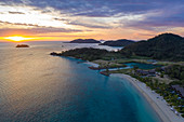 Aerial view of beach at Six Senses Fiji Resort at sunset, Malolo Island, Mamanuca Group, Fiji Islands, South Pacific