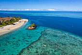 Aerial view of couple in kayak at Six Senses Fiji Resort, Malolo Island, Mamanuca Group, Fiji Islands, South Pacific