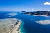 Aerial view of sandbars and Malolo Island, Malolo Island, Mamanuca Group, Fiji Islands, South Pacific