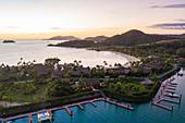Aerial view of marina at Six Senses Fiji Resort at sunset, Malolo Island, Mamanuca Group, Fiji Islands, South Pacific
