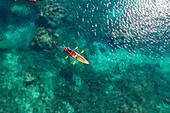 Aerial view of passengers of the cruise ship MV Reef Endeavor (Captain Cook Cruises Fiji) enjoying water sports along a coral reef, Yaqeta, Yangetta Island, Yasawa Group, Fiji Islands, South Pacific