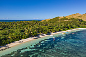 Aerial view of boats, beach and coast, Yaqeta, Yangetta Island, Yasawa Group, Fiji Islands, South Pacific
