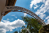 Lettering on arch at the entrance to the Kigali Genocide Memorial Center, Kigali, Kigali Province, Rwanda, Africa