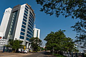 Street and high-rise office building in the city center, Kigali, Kigali Province, Rwanda, Africa