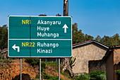 Signpost road sign, Nyamabuye, Southern Province, Rwanda, Africa