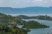 View over bay and peninsula at Lake Kivu, near Gitesi, Western Province, Rwanda, Africa