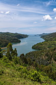 View over bay at Lake Kivu, near Gitesi, Western Province, Rwanda, Africa