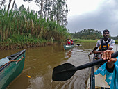 Canoe excursion on river through lush green landscape, near Ruhengeri, Northern Province, Rwanda, Africa
