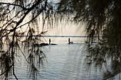 Silhouette von zwei Fischern und Hunden die auf Felsen im Wasser vor dem Ong Lang Beach stehen, Ong Lang, Insel Phu Quoc, Kien Giang, Vietnam, Asien