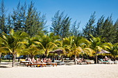 Coconut trees and beach chairs at the Chez Carole Phu Quoc Resort on Ong Lang Beach, near Cua Can, Phu Quoc Island, Kien Giang, Vietnam, Asia