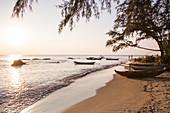 Fishing boats along Ong Lang Beach at sunset, Ong Lang, Phu Quoc Island, Kien Giang, Vietnam, Asia