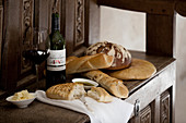 A selection of  bread, olive-oil and wine, shot at wineyard, Abadia Retuerta, in Duero Valley, northern Spain.