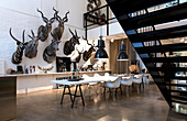 Interior shot of an artists home in Copenhagen. Walls decorated with painted taxidermied animals.