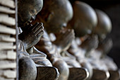 A row of Bhudda statues made in polished concrete. Bali