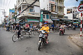 Bicycle rickshaw excursion for guests of river cruise ship, Chau Doc, An Giang, Vietnam, Asia