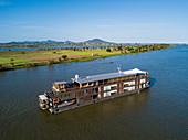 Aerial view of river cruise ship Aqua Mekong on Tonle Sap River, near Kampong Chhnang, Kampong Chhnang, Cambodia, Asia