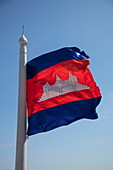 Cambodian flag at stupa on Mount Phnom Oudong, Oudong (Udong), Kampong Speu, Cambodia, Asia