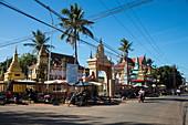 Street scene with temples, Kampong Chhnang, Kampong Chhnang, Cambodia, Asia