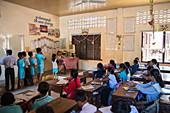 Young children in the classroom of the village school, Oknha Tey Island, Mekong River, near Phnom Penh, Cambodia, Asia