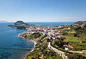 Aerial view of the city of Baia ( Baiae), an ancient Roman town situated north of Naples in the Gulf of Pozzuoli, Campania, Italy, Europe