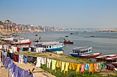 View of Varanasi and Ganges River, Varanasi, Uttar Pradesh, India, Asia