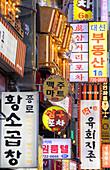Bar and restaurant signs, Seoul, South Korea, Asia