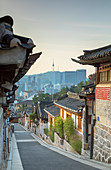 Traditional houses in Bukchon Hanok village at sunrise, Seoul, South Korea, Asia