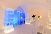 Sorrisniva Igloo Hotel, ice hotel in winter, striking sculpture, chapel, lobby, Alta, Finnmark, Arctic Circle, North Norway, Scandinavia, Europe