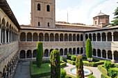The cloister of Santa Maria de Ripoll Benedictine Monastery, Ripoll, Girona province, Catalonia, Spain, Europe
