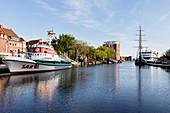 Museum cruiser in the port of Emden, sea rescue cruiser, three-master, sailing ship, barquentine (Heureka), ferry, ship, boat, Ratsdelft, port, Emden, East Frisia, Lower Saxony, Germany