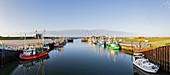 Fishing boats in the harbor, fishing cutters, Dornumersiel Tief, Panorama, Dornumersiel, East Frisia, Lower Saxony, Germany
