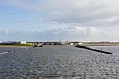 Ferry entering Norddeich, fairway, port, North Sea, Norddeich, East Frisia, Lower Saxony, Germany