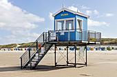 DLRG post on the beach, observation post, lifesaving, beach, sand, North Sea, Langeoog, East Frisia, Lower Saxony, Germany
