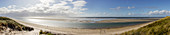 Beach in bright sun, panorama, dune, sea, clouds, sand, shallow water, sand bank, North Sea, Langeoog, East Frisia, Lower Saxony, Germany