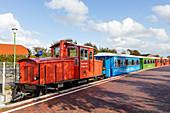 Langeoog island railway, narrow-gauge railway, lock, wagons, Langeoog, East Frisia, Lower Saxony, Germany
