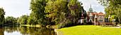 Sielhof-Schlößchen, Sielhof-Park, Neuharlinger Sieltief, panorama, Neuharlingersiel, East Frisia, Lower Saxony, Germany