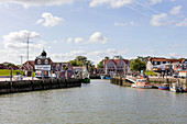 Harbor and fishing boats, ships, boats, quay wall, Neuharlingersiel, East Frisia, Lower Saxony, Germany