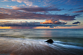 Boulder on the beach at Bansin, Usedom, Baltic Sea, Mecklenburg-Western Pomerania, Germany