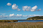 View over the Great Jasmunder Bodden, near Lietzow, Ruegen, Baltic Sea, Mecklenburg-Western Pomerania, Germany