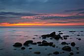 Morning mood on the beach, Sellin, Ruegen, Baltic Sea, Mecklenburg-Western Pomerania, Germany