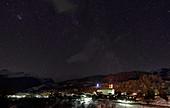 Starry sky over Kippel, Lötschental, Valais, Switzerland.