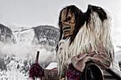 Carnival parade of the Tschäggättä in Wiler, Lötschental, Valais, Switzerland.