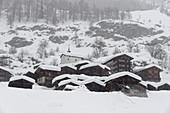 Heavy snowfall in Blatten in Wallis, Loetschental, Switzerland.