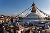 Newly built after the earthquake: Bodnath Stupa in Kathmandu, Nepal, Asia.