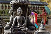 Buddha statue in Swayambhunath, Kathmandu, Nepal, Asia.