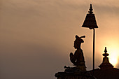 King Bhupatindra Malla watches over Durbar Square in Bhaktapur, Kathmandu Valley, Nepal, Asia.