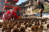 The city of potters: Bhaktapur, Kathmandu Valley, Nepal, Asia.