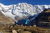 Annapurna south face from Annapurna Base Camp, Nepal, Himalayas, Asia.